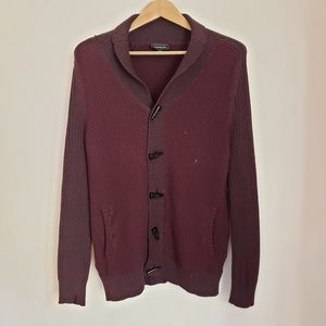 Express Burgundy Heavy Button Up Sweater
